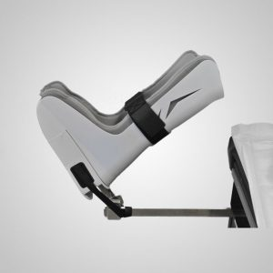 GStirrup boot mounted to an exam table over the existing foot rest.